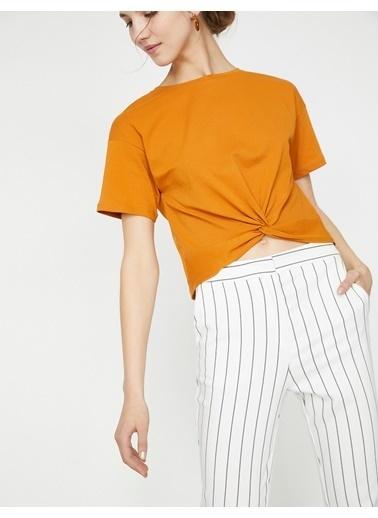 Koton Koton Büzgülü Hardal T-Shirt Hardal